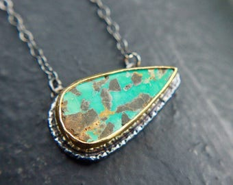 Sterling silver oxidized and gold plated natural turquoise necklace
