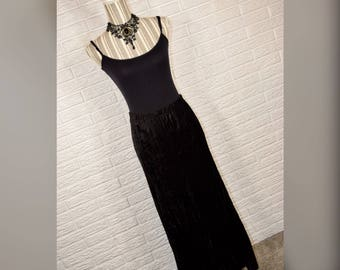 Vtg 90s Laura Ashley NWT Black Velvet Maxi Skirt