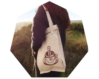 """Canvas Bag-TOTE bag-cotton/silkscreen printing/Tribute to Pasolini-""""It's just a storm in a tea cup"""""""