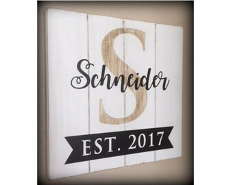 Monogram Wedding Sign, Established Date Sign, Custom Wedding Sign, Last Name Est Sign, Rustic Family Name Sign, Farm style, Farmhouse Decor