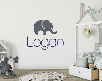 Elephant wall decal, Personalized name wall decals, Elephant stickers, Name decals, Nursery wall decals, Nursery decor, Baby wall decals 303