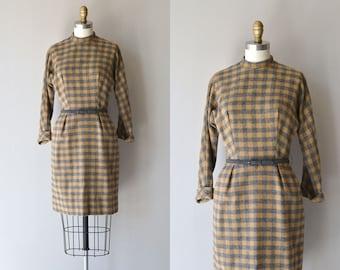 Winter Privet dress • vintage 1950s dress • wool plaid 50s dress