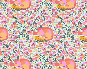 Chipper by Tula Pink for Free Spirit - Fox Nap - Sorbet - 1/2 Yard Cotton Quilt Fabric 516