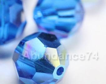6 pcs Swarovski Elements - Swarovski Crystal Beads 5000 10mm Round Ball Beads - Capri Blue AB