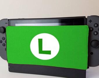 Nintendo Switch Green Luigi Themed Dock Sock Cozy Microfiber Protector