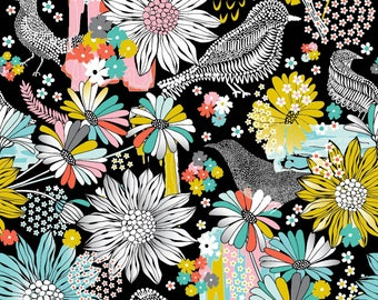 Summer Skies - Floral Bird Black by Jenean Morrison from 3 Wishes Fabric
