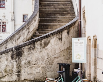 "France Travel Photography, ""Bicycle at the Steps"", Gallery Wall Art Prints, Home Decor"