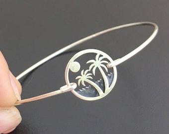 Palmtree Bracelet in Sterling Silver with Sunset over Ocean Summer Scene, Palmtree Jewelry, Sunrise Bracket