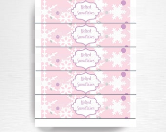 Melted Snowflakes Birthday Party Water Bottle Labels Instant Download