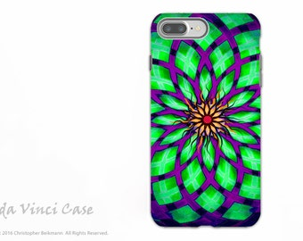 Lime Green Geometric Lotus iPhone 7 PLUS - 8 PLUS Tough Case - Dual Layer Protection - Lime Kalotuscope - Green and Purple Case