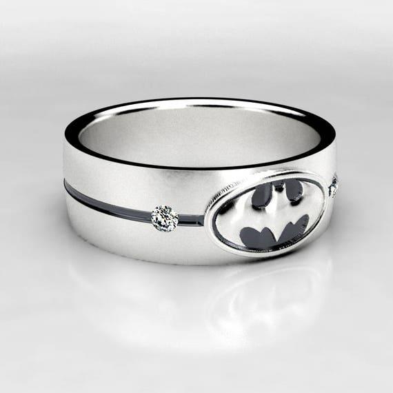Batman Wide Silver Wedding Ring Batman Sterling Silver