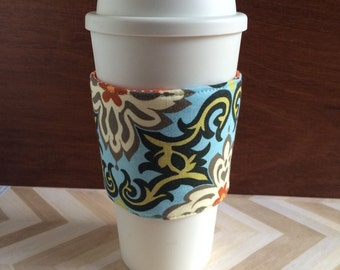Fabric coffee cozy, coffee sleeve, stocking stuffer, teacher gift, coffee cosy, gift under 10