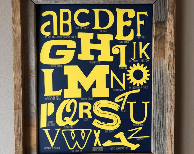 The Alphabet of Ann Arbor Word Art (Maize & Blue) - Unframed