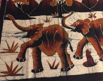 Elephant Batik wall hanging - hand painted, natural dyes, made with love