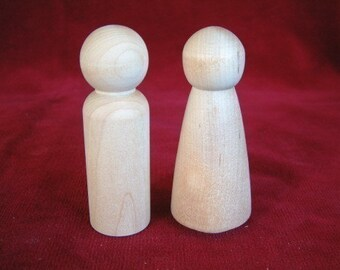 Peg Dolls, Lg Size Bride and Groom Unfinished Hardwood