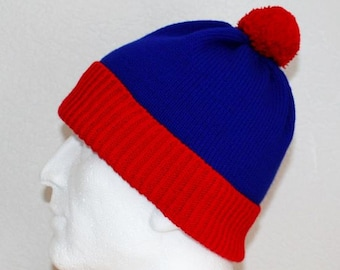 Red Royal Blue Stan South Park pompom beanie hat Teen upto Adult size