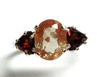 """Feldspar ring, salmon feldspar, multi stone ring, salmon red, feldspar  garnet ring, three stone, anniversary ring 6 3/4   """"Amber Honey"""""""