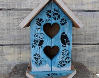 Blue Owl Birdhouse/Bookshelf Decor/Birdhouse/Porch Decor/Blue Bird house/Wooden Owl/Birdhouse/Handpainted/Wooden Birdhouse/Entryway Decor
