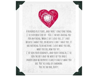 Spike's Love Speech - TV Typography - Buffy the Vampire Slayer - Quotation Art Print 8x10