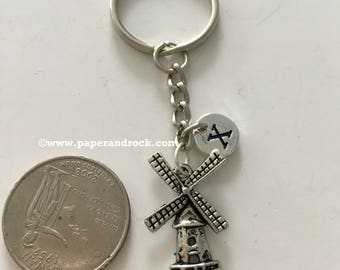 Windmill initial keyring, windmill jewelry, Dutch jewelry, Holland jewelry, windmill key chain, Holland key ring, Netherlands keychain
