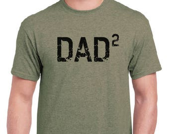 Fathers Day Gift Dad 2 Squared Dad Shirt-DAD 2- Husband Gift, T Shirt,New Dad, Pregnancy announcement, Funny T shirts Gift For him Mens tee