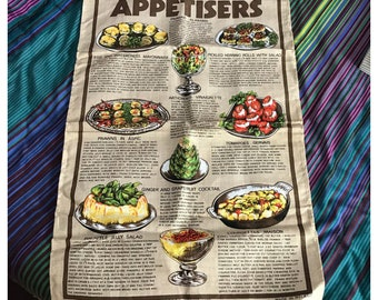 Ulster Irish Linen Tea Towel. 'Appetisers'.  Reg No 5290.  Recipes, Snacks, Starters