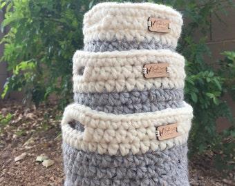 Set of Round Nesting Baskets, crochet nesting baskets