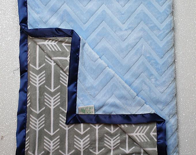 Minky Blanket, baby Blanket, baby girl blanket, baby boy,  modern blanket, hipster baby, blue and grey, arrow lattice plush minky, baby gift