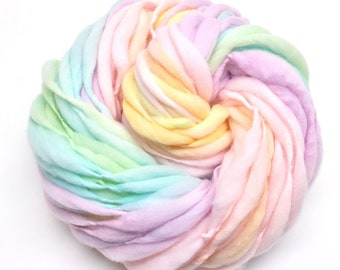 Gradient pastel rainbow yarn, handspun super bulky and thick and thin in merino wool - 50 yards, 3.3 ounces/94 grams