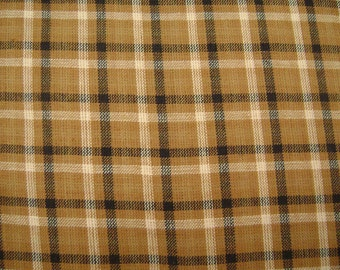Brown/Black Plaid Cotton Fabric by the yard