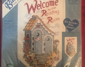 Welcome To The Reading Room cross stitch banner