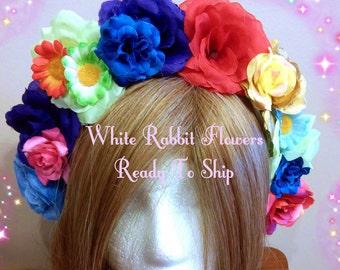 Floral Headband, Cinco De Mayo, Flower Crown, Rose Headdress, Big Halo, Large Hairpiece, Rainbow Fairy, Gay Pride, Woodland Costume Ages 10+