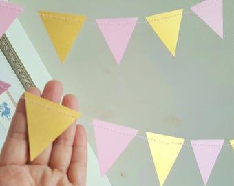 Triangle garland (12F) Pick Colors,Wedding Garland,Pink and gold triangle garland,Triangle garland,Birthday garland,Wild one party decor,