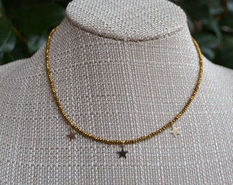 Crystal Necklace with 3 14K Gold Filled Star Dangles | Available in Bronze, Gold, Clear, Silver, Gray, and Black
