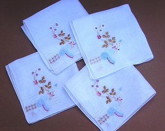 Vintage Handkerchief Set . Embroidery and Openwork/Drawnwork Hanky . matching set of four hankies .