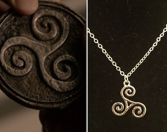 Teen Wolf inspired triskelion necklace, silver triskelion necklace, teen wolf necklace, triskele necklace, derek hale necklace, triskele