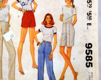 Sewing Pattern McCall's 9585 Misses' Pants or Shorts  Uncut  Complete Waist 24