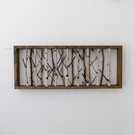 white birch forest wall art 30 x 12 birch branch decor. Black Bedroom Furniture Sets. Home Design Ideas