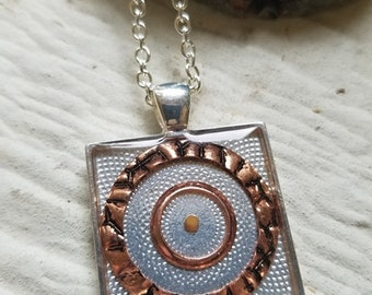 Mustard Seed Pendant Necklace Square with Copper