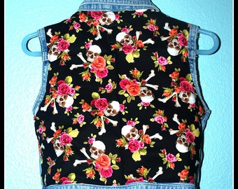 Girls Rockabilly Skulls and Roses Denim Vest....size 24 months/2 years