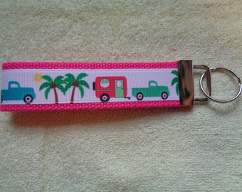 """Retro Vintage Camper Travel Trailer with Pickup Truck Bright Pink 5"""" Key Chain Fob Wristlet Camp Glamper Palm Tree"""