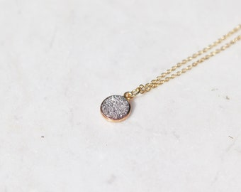 Druzy Pendant Geode Necklace gold Plated Chain. Crystal Pendant set in gold plating. Sparkly crystal necklace