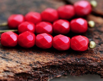 4mm Czech glass beads, Red opaque Fire polished round spacers - 50Pc - 2217