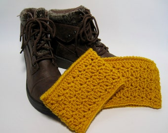 Yellow Boot Cuffs, Mustard Boot Cuffs, Yellow Boot Toppers, Womens Boot Cuffs, Crochet Boot Cuffs, Gift for Her, Boot Toppers