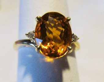 sz 6 14K Citrine Ring November Birthstone Ring Yellow Gold Citrine 14Kt Citrine and Diamond Ring November Birthstone Jewelry Scorpio Jewelry