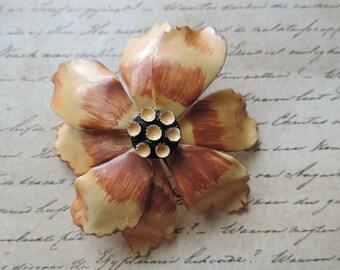 gold enamel flower brooch 1960s mod yellow flower big floral pin vintage jewelry