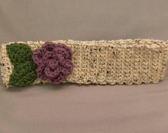 Crochet head band / ear warmer.  Flower head band