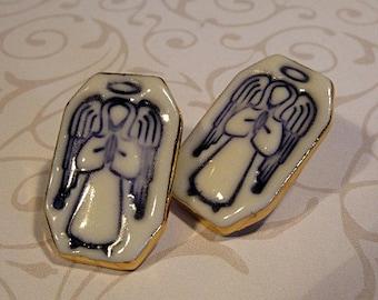 Blue Angel Porcelain Earrings Handmade