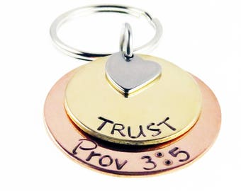 Scripture Hand Stamped  Proverbs 3:5  Religious Key chain | Trust  | Unique Gift | Holiday Stocking Stuffer | Gifts for Everyone