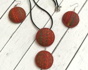 Jewelry Set -pendant - earrings - sunset  - polymer clay jewelry